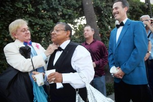 Couples stand in line for the L.A. Gay and Lesbian Center's prom